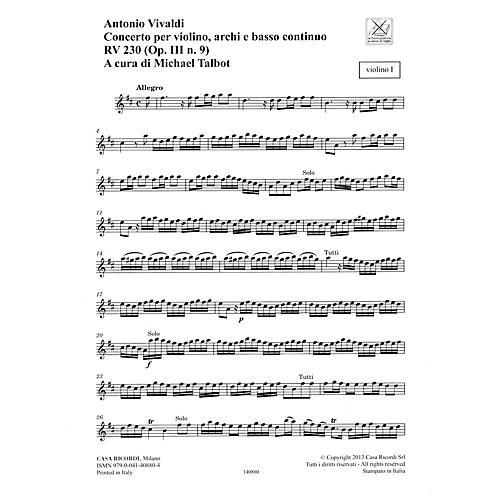 Ricordi Concerto D Major, RV 230, Op. III, No. 9 String Orchestra Series Softcover Composed by Antonio Vivaldi-thumbnail
