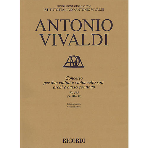 Ricordi Concerto D Minor, RV 565, Op. III, No. 11 String Orchestra Series Softcover Composed by Antonio Vivaldi-thumbnail