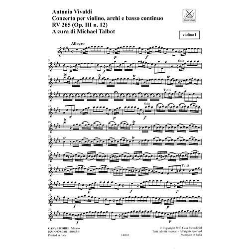 Ricordi Concerto E Major, RV 265, Op. III, No. 12 String Orchestra Series Softcover Composed by Antonio Vivaldi-thumbnail