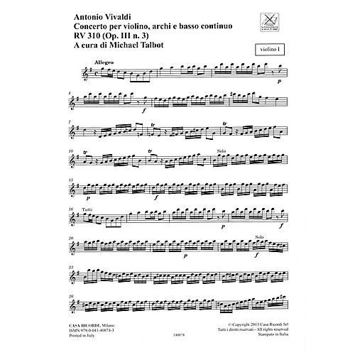Ricordi Concerto G Major, RV 310, Op. III, No. 3 String Orchestra Series Softcover Composed by Antonio Vivaldi-thumbnail