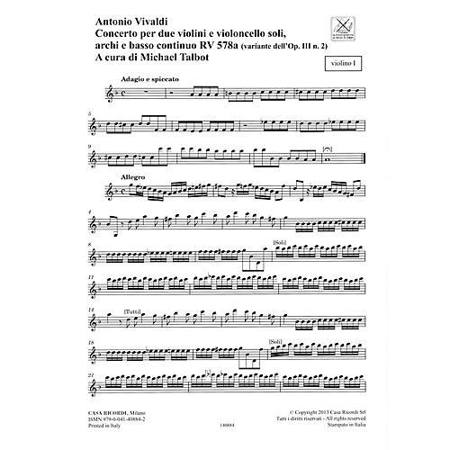 Ricordi Concerto G Minor, RV 578, Op. III, No. 2 String Orchestra Series Softcover Composed by Antonio Vivaldi-thumbnail