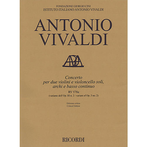 Ricordi Concerto G Minor, RV 578a, Op. 3, No. 2 String Orchestra Series Softcover Composed by Antonio Vivaldi