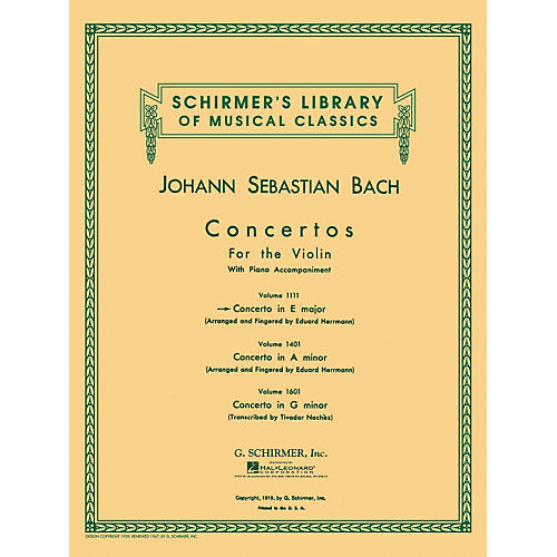 G. Schirmer Concerto for Violin In E Major with Piano Reduction By Bach