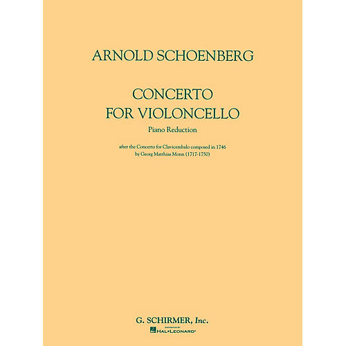 G. Schirmer Concerto for Violoncello and Orchestra (Piano Reduction) String Solo Series Composed by Arnold Schoenberg-thumbnail