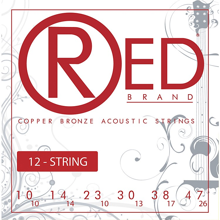 Red Strings Copper Bronze 12-String Acoustic Guitar Strings Light