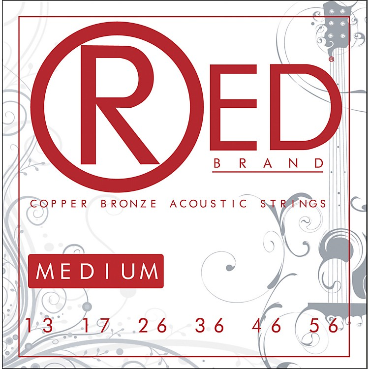 Red StringsCopper Bronze Acoustic Guitar Strings - Medium