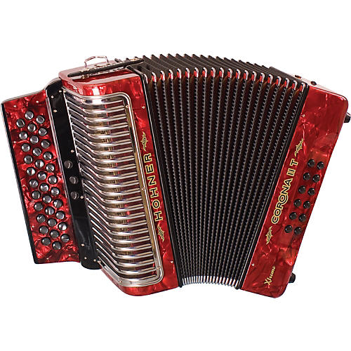Hohner Corona II T Xtreme FBbEb Accordion Pearl Red