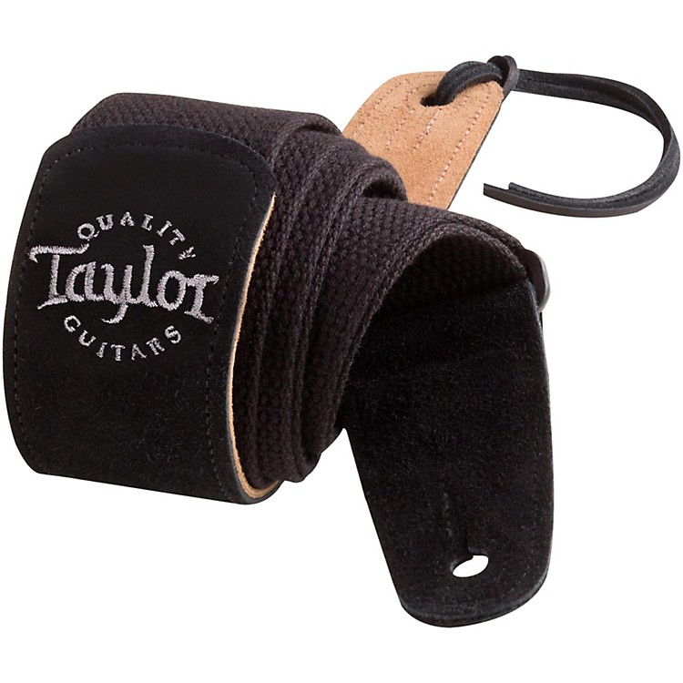 Taylor Cotton Guitar Strap with Suede Ends Black