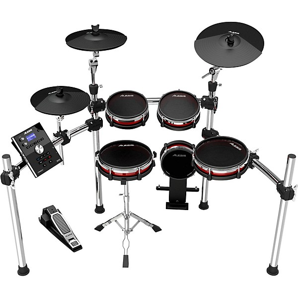 new alesis drum module crimson with new kit that has red pads with
