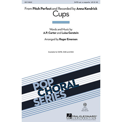 Hal Leonard Cups (from Pitch Perfect) SAB by Anna Kendrick Arranged by Roger Emerson-thumbnail