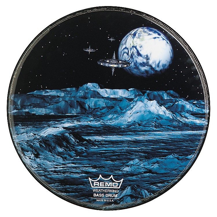 Remo Custom Graphic Blue Moon Resonant Bass Drum Head  22 Inches