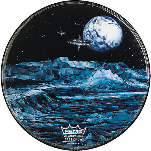 Remo Custom Graphic Blue Moon Resonant Bass Drum Head  22 in.