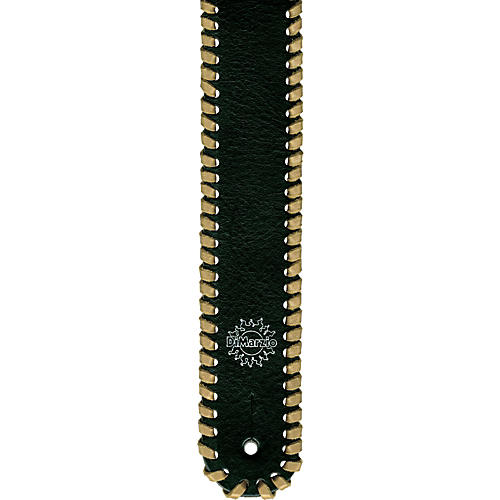 DiMarzio Custom Italian Black Leather Whipstitch Guitar Strap Tan Laces