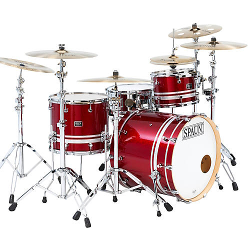 Spaun Custom Shop 3-Piece Maple Shell Pack Rich Red Sparkle with Silver Stripes