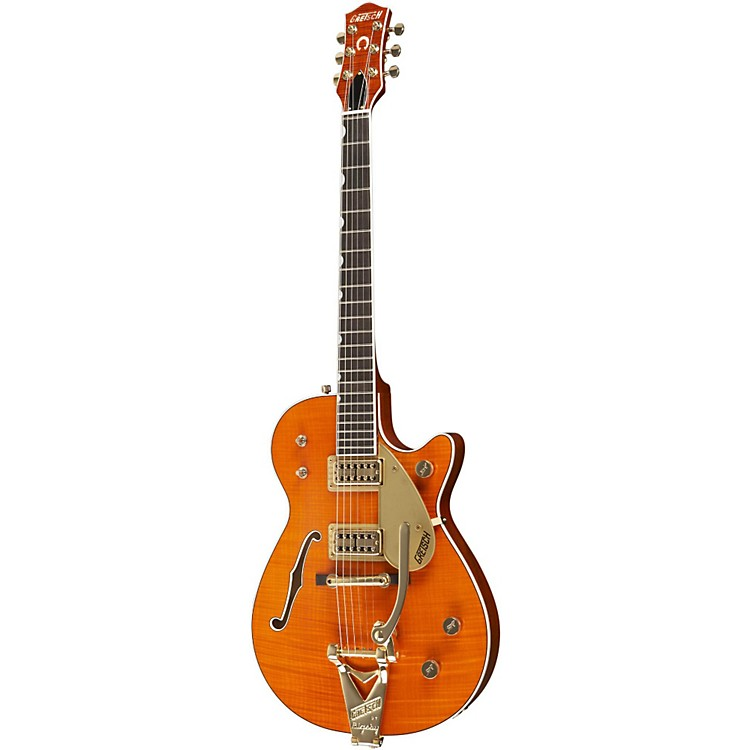 Gretsch Guitars Custom Shop Duo Jet Flame Maple Top Electric Guitar Orange