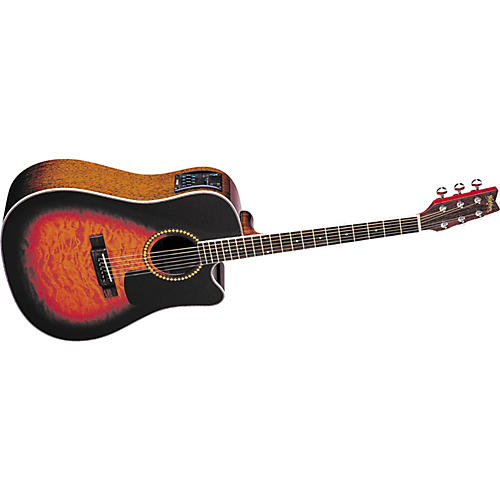 Washburn D10CEQSB Cutaway Dreadnought Quilt Top Acoustic-Electric Guitar with Case-thumbnail