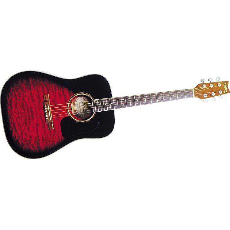 WashburnD10QSB Sunburst Quilt Top Dreadnought Acoustic Guitar w/case