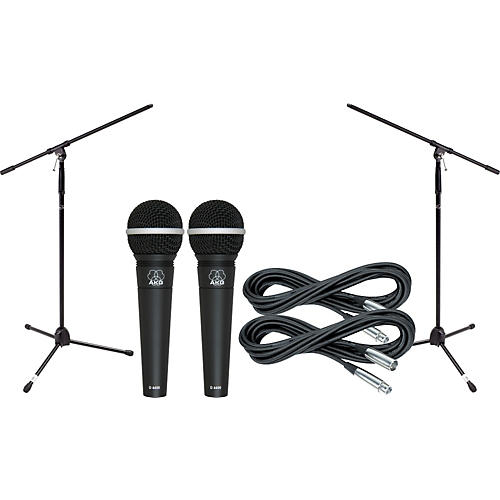 AKG D4400 Mic Two Pack With Cables & Stands-thumbnail