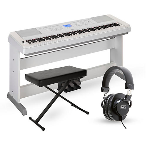 Yamaha dgx660 88 key portable grand piano packages white for Yamaha 660 keyboard