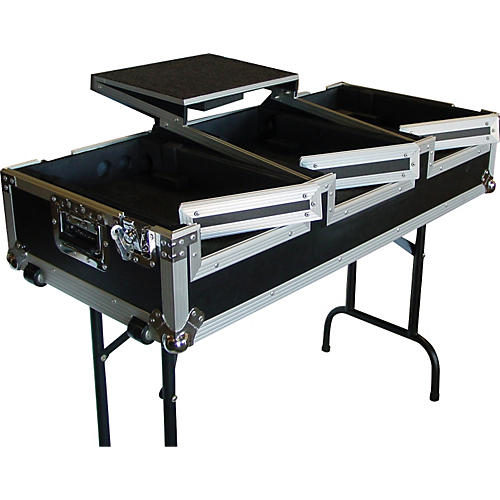 Eurolite DJ CD Coffin Case with Laptop Shelf and Folding Table Legs
