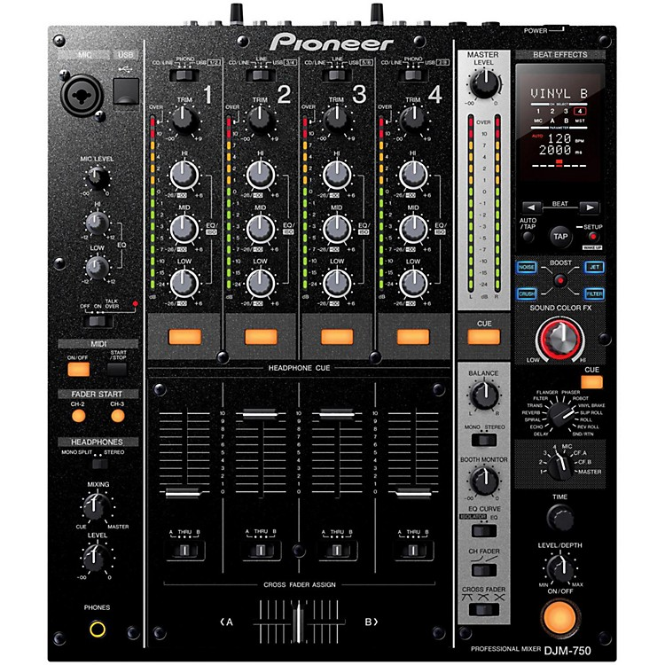 Pioneer DJM-750 4-Channel DJ Mixer with Boost Black