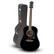 Epiphone DR-100 Acoustic Guitar Black with Road Runner RRDWA Case