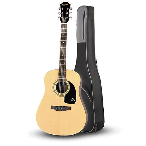 Epiphone DR-100 Acoustic Guitar Natural with Road Runner RR1AG Gig Bag-thumbnail