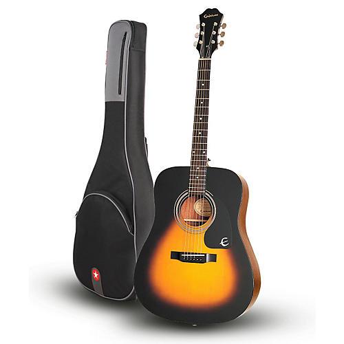 Epiphone DR-100 Acoustic Guitar Vintage Sunburst with Road Runner RR1AG Gig Bag-thumbnail