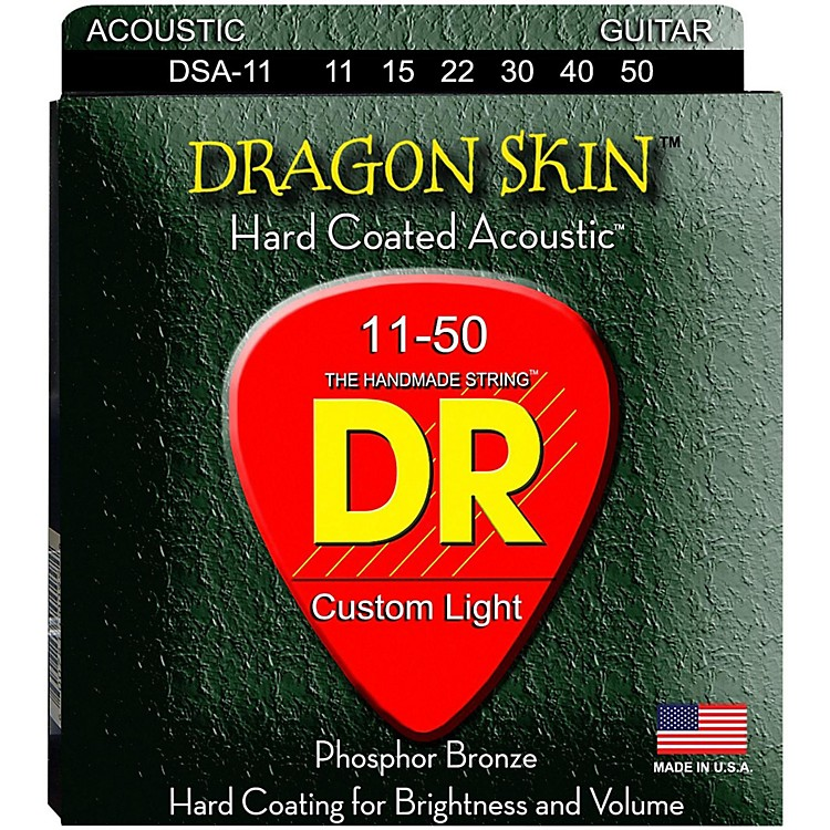 DR Strings DSA-11 Dragon Skin K3 Coated Acoustic Strings Medium-Light
