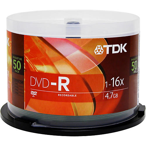 TDK DVD-R 4.7GB 120-Minute 16x 50 Pack Spindle