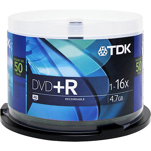 TDK DVD+R 4.7GB 120-Minute 50 Pack