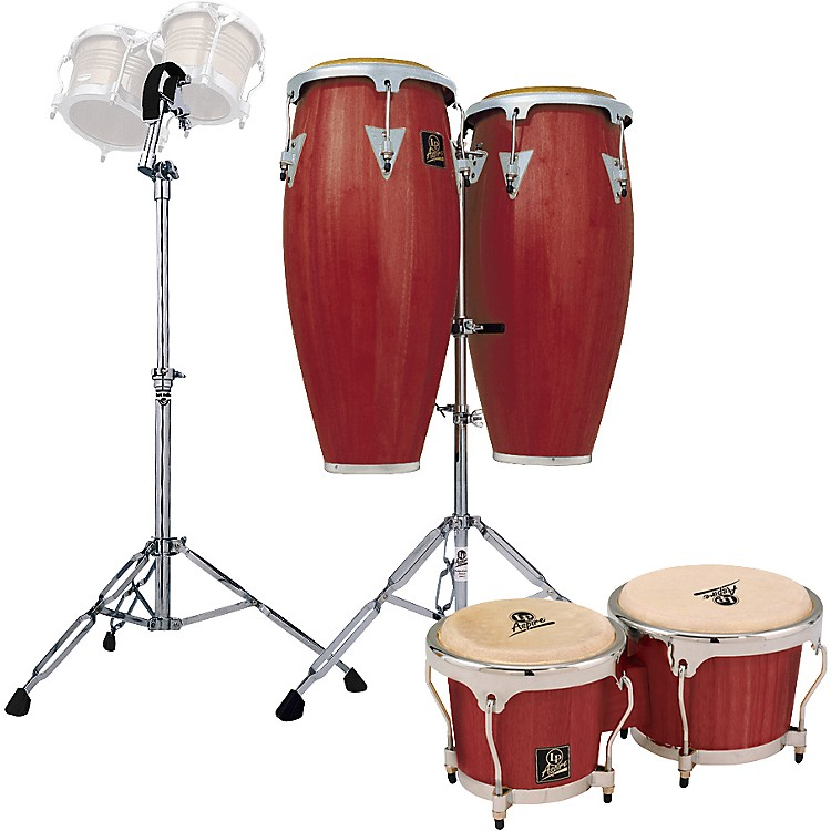 LP Darkwood Aspire Conga Set with Bongos and Stand