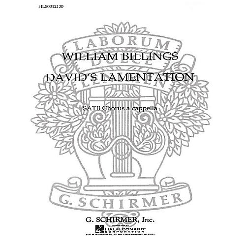 G. Schirmer David's Lamentation SATB a cappella composed by W Billings-thumbnail