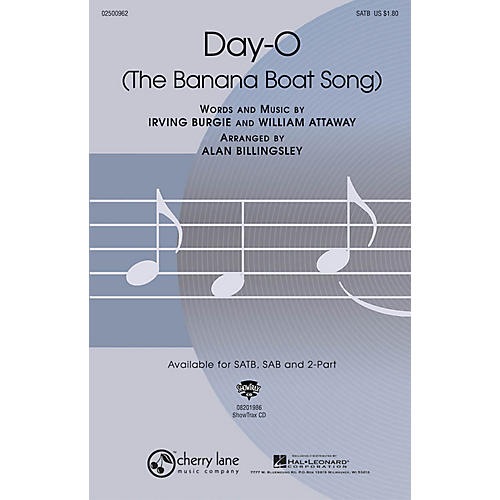 Cherry Lane Day-O (The Banana Boat Song) SATB arranged by Alan Billingsley