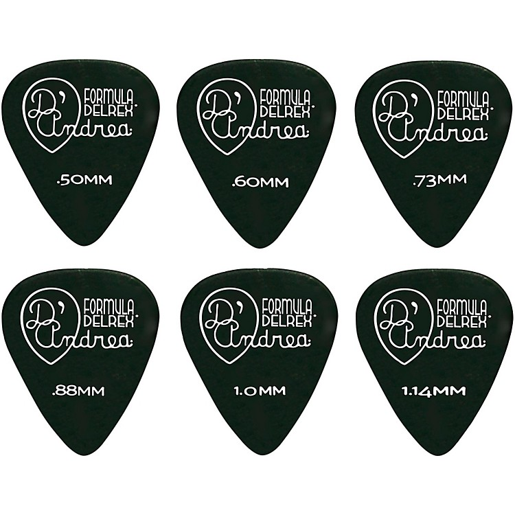 D'Andrea Delrex Delrin Guitar Picks One Dozen Black .50MM