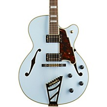 Deluxe Series DH Hollowbody Electric Guitar with Custom Seymour Duncan Pickups and Stairstep Tailpiece Matte Powder Blue Tortoise Pickguard