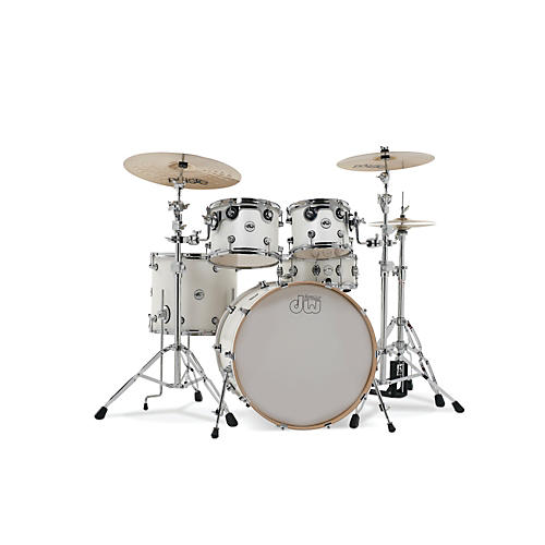 DW Design Series 5-Piece Lacquer Shell Pack with Chrome Hardware Satin White