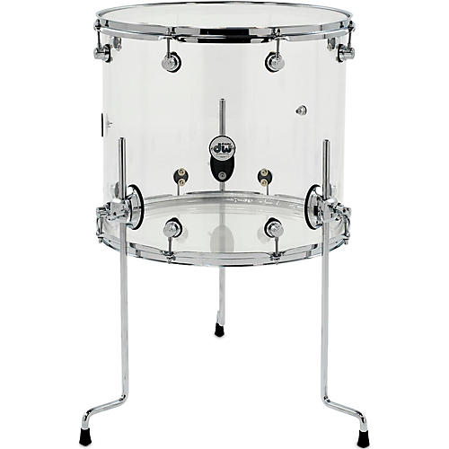 Dw design series acrylic floor tom with chrome hardware 18 for 16 floor tom