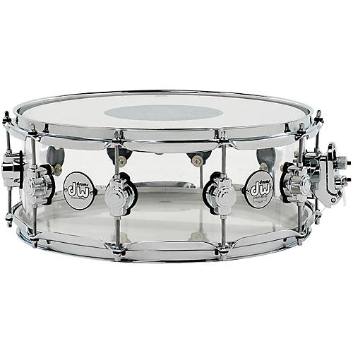 DW Design Series Acrylic Snare Drum with Chrome Hardware 14 x 5.5 in. Clear