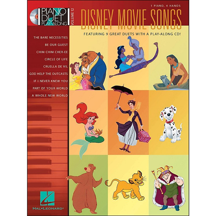 Hal Leonard Disney Movie Songs Volume 12 Book/CD 1 Piano 4 Hands Piano Duet Play Along