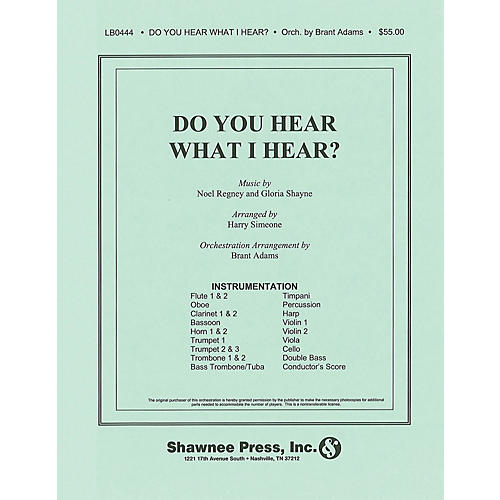 Shawnee Press Do You Hear What I Hear? (Orchestration) Score & Parts arranged by Harry Simeone-thumbnail