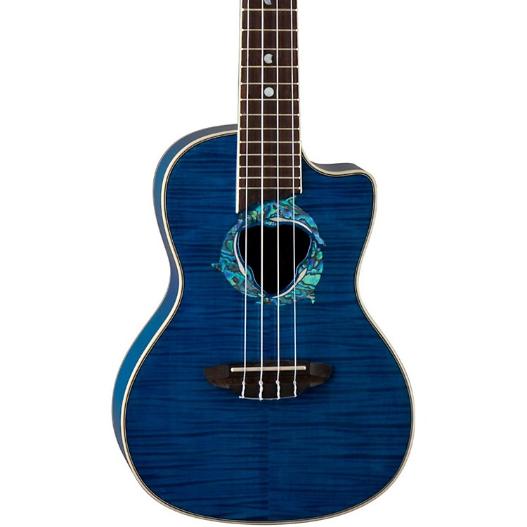 Luna Guitars Dolphin Concert Acoustic-Electric Ukulele Trans-Blue Flame Maple