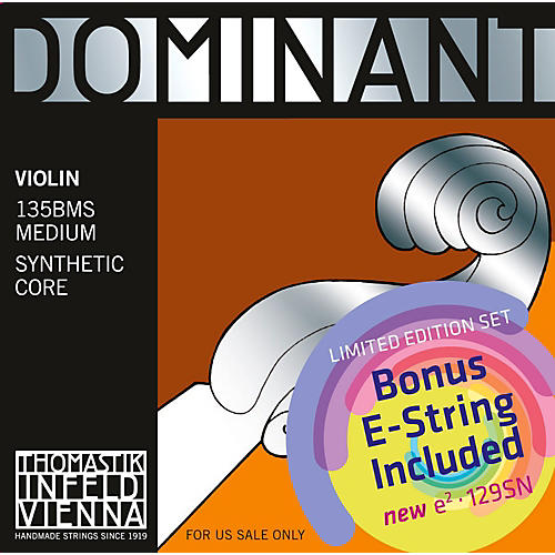 Thomastik Dominant 135BMS Bonus Set with Free Dominant Tin-Plated E String