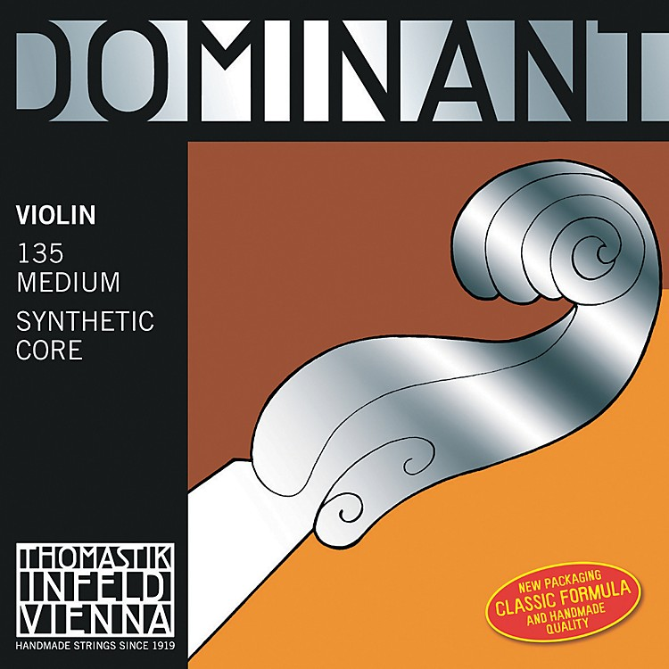 Thomastik Dominant 4/4 Size Violin Strings 4/4 Set, Wound E String, Loop End, Silver D