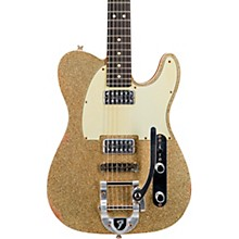 Double TV Jones Telecaster Relic Electric Guitar with Bigsby Gold Sparkle