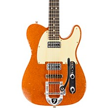 Double TV Jones Telecaster Relic Electric Guitar with Bigsby Orange Sparkle