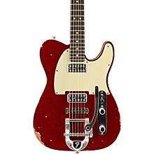 Double TV Jones Telecaster Relic Electric Guitar with Bigsby Red Sparkle Top