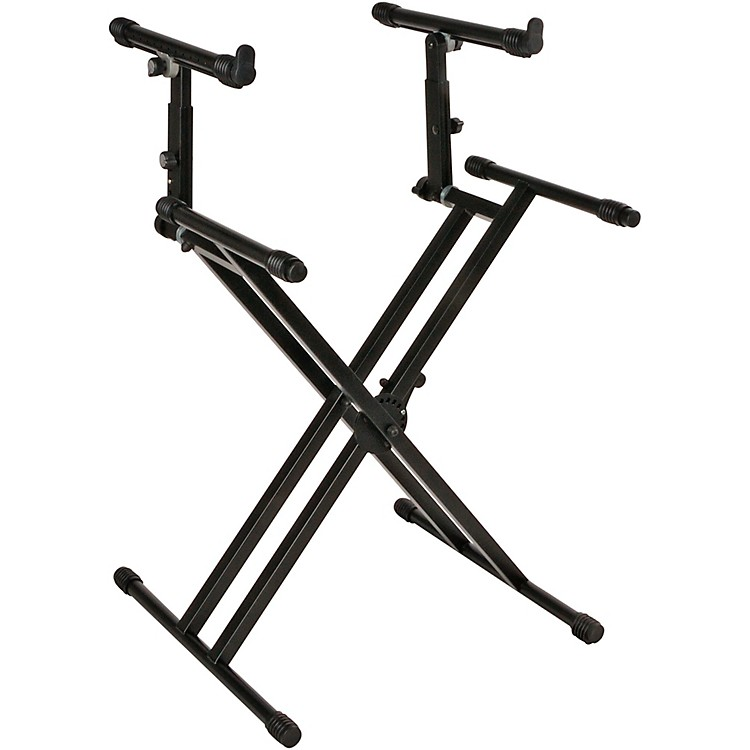 Quik-Lok Double-Tier Double-Braced Keyboard Stand