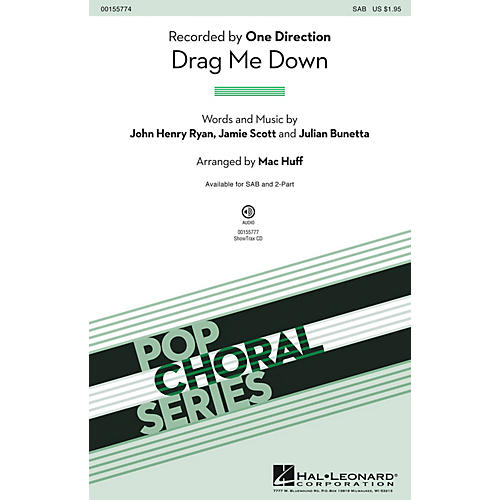 Hal Leonard Drag Me Down SAB by One Direction arranged by Mac Huff-thumbnail
