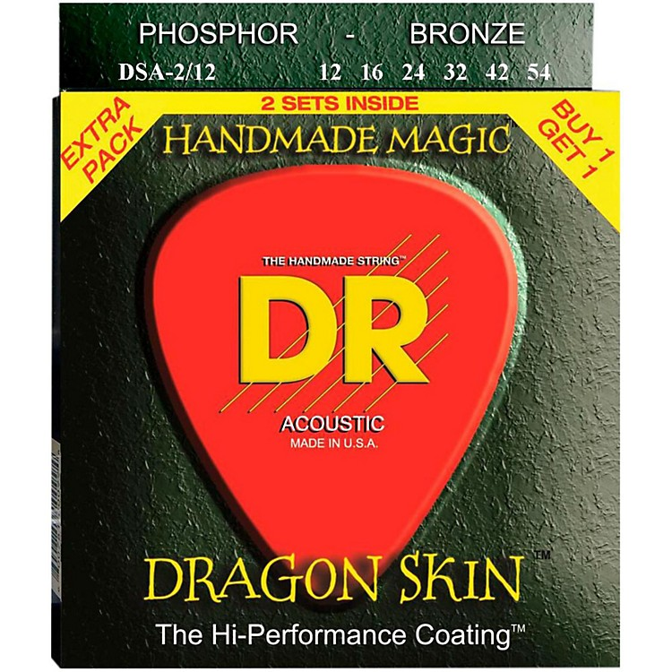 DR Strings Dragon Skin 2 Pack: Clear Coated Acoustic Phosphor Bronze Medium (12-54)